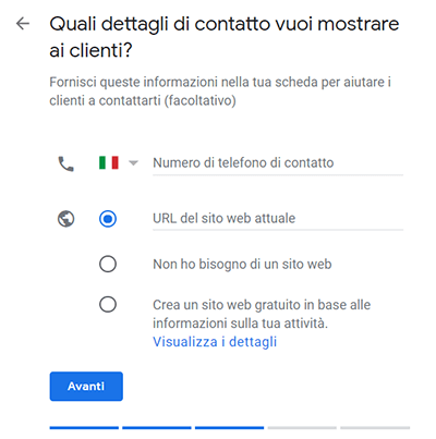 sito web numero telefono google my business